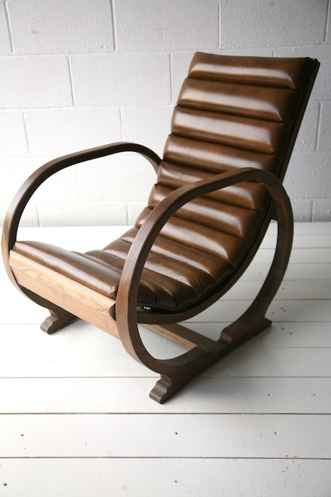 1930s Leather Slipper Chair