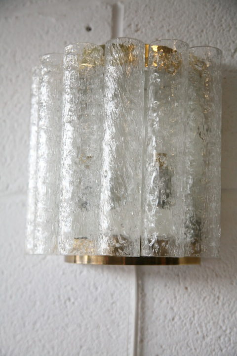 1960s Large Glass Wall Lights by Doria German