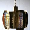 1960s Medium Gold Glass Chandelier  1