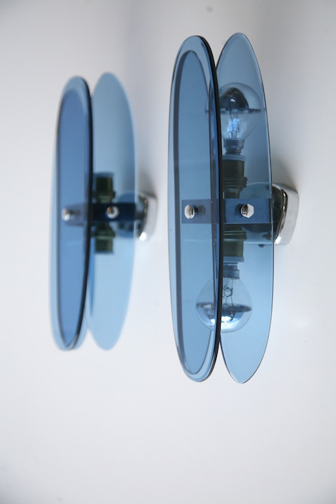French 1950s Blue Glass Wall Lights