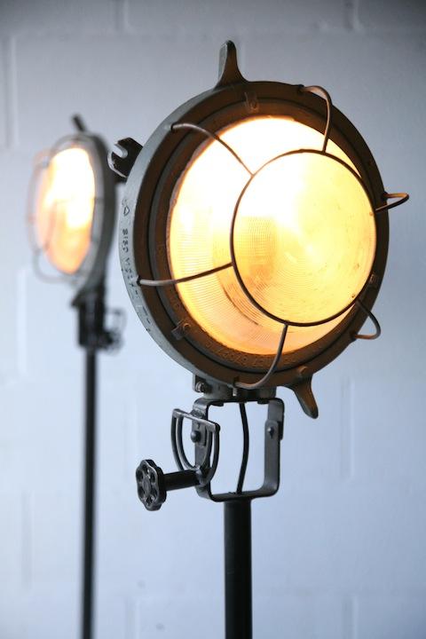 Pair of Industrial Floor Lamps