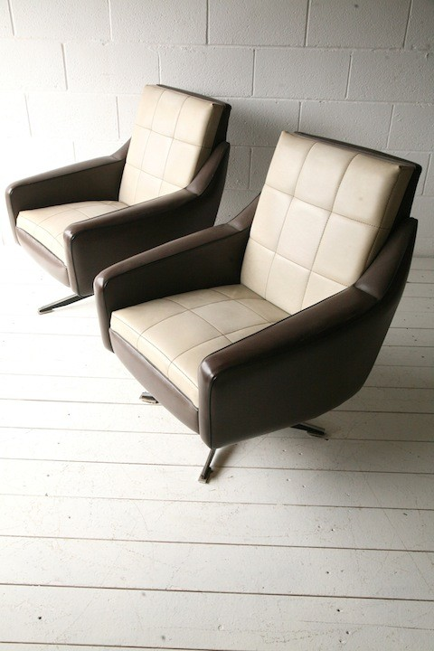 Pair of 1960s Vinyl Swivel Chairs