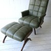 1960s Green Vinyl Chair and Stool