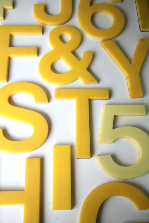 02 Vintage Plastic Yellow Shop Letters 5