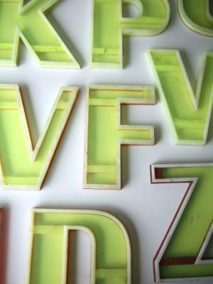 05 Vintage Florescent Plastic Shop Letters