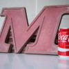 08 VIntage Metal Cherry Red Shop Letters  Doric Font 3
