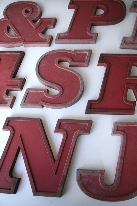 08 VIntage Metal Cherry Red Shop Letters  Doric Font