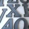 14 Large Vintage Grey Metal Shop Letters Doric Font