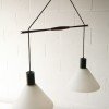 1960s Teak and Glass Double Ceiling Light