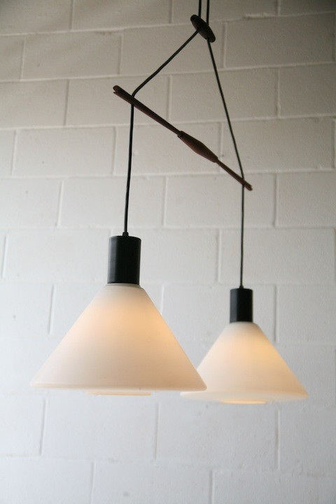 1960s Teak and Glass Double Ceiling Light 3