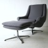 1970s Grey Swivel Chair and Stool1
