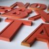 20 Vintage Orange Metal Shop Letters Doric Font 1