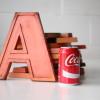 20 Vintage Orange Metal Shop Letters Doric Font 2