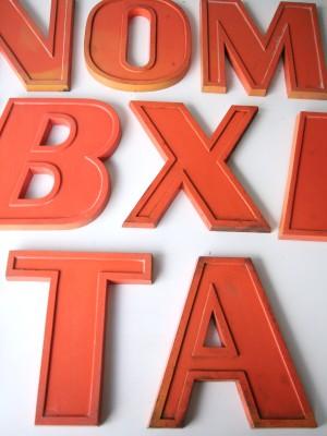 20 Vintage Orange Metal Shop Letters Doric Font