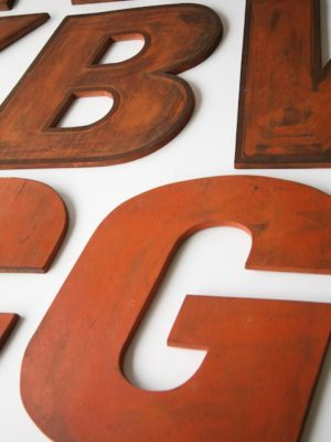 27 Large Wooden Vintage Shop Letters Doric Font