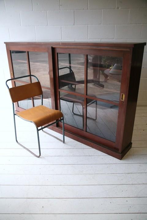 Large Vintage Glass Bookcase