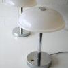Pair 1970s Chrome Plastic Table Lamps