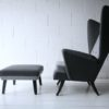 Vintage 1950s L'aronde Wingback Chair and Stool by Howard Keith 1
