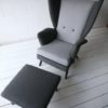 Vintage 1950s L'aronde Wingback Chair and Stool by Howard Keith