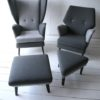 Vintage 1950s L'aronde Wingback Chair and Stool by Howard Keith 2