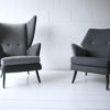 Vintage 1950s L'aronde Wingback Chair and Stool by Howard Keith 3