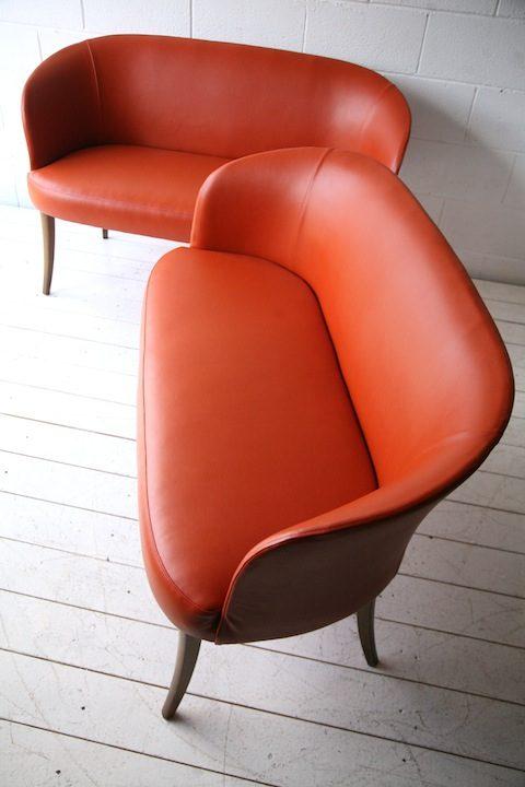 Pair of Vintage Orange Vinyl Benches