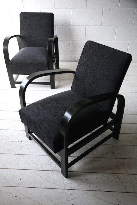 1930s Art Deco Reclining Armchairs