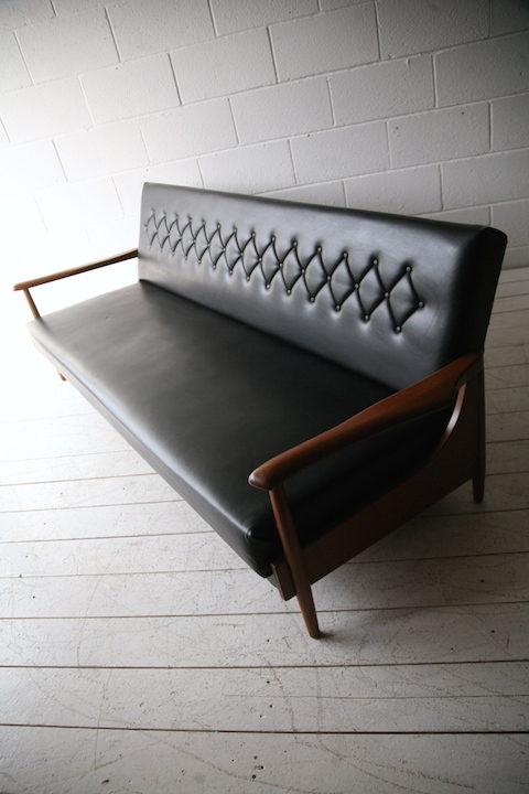 1960s Black Vinyl Sofabed