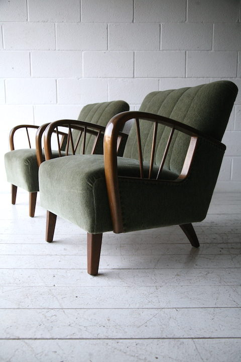 Pair of 1950s Green Armchairs