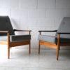 Pair of 1960s Beech and Mahogany Armchairs