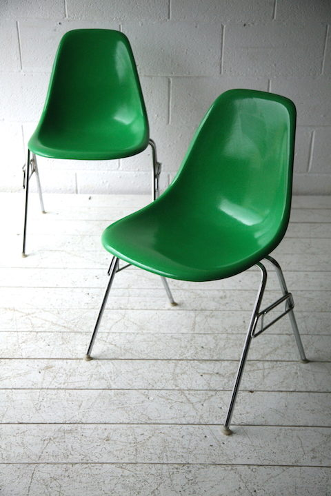 Vintage Charles Eames Green Shell Chairs for Herman Miller