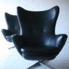 1960s Black Vinyl Swivel Chairs