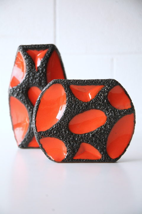 1960s Fat Lava Vases by Roth 3