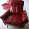 Pair of 1950s Red Vinyl Armchairs