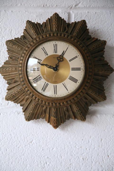 Small 1950s Sunburst Wall Clock