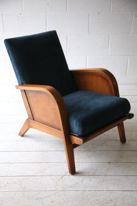 1930s Blue Velvet Armchair