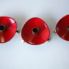 1950s Red Enamel Brass Candle Holders 1