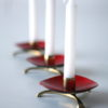 1950s Red Enamel Brass Candle Holders