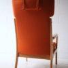 1960s Beech Armchair in Orange Wool 1
