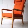 1960s Beech Armchair in Orange Wool 2