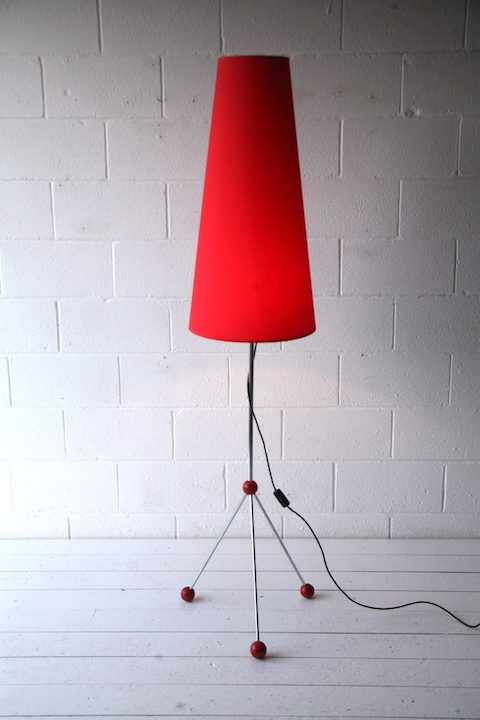 Large 1950s Atomic Chrome Floor Lamp and Shade 3