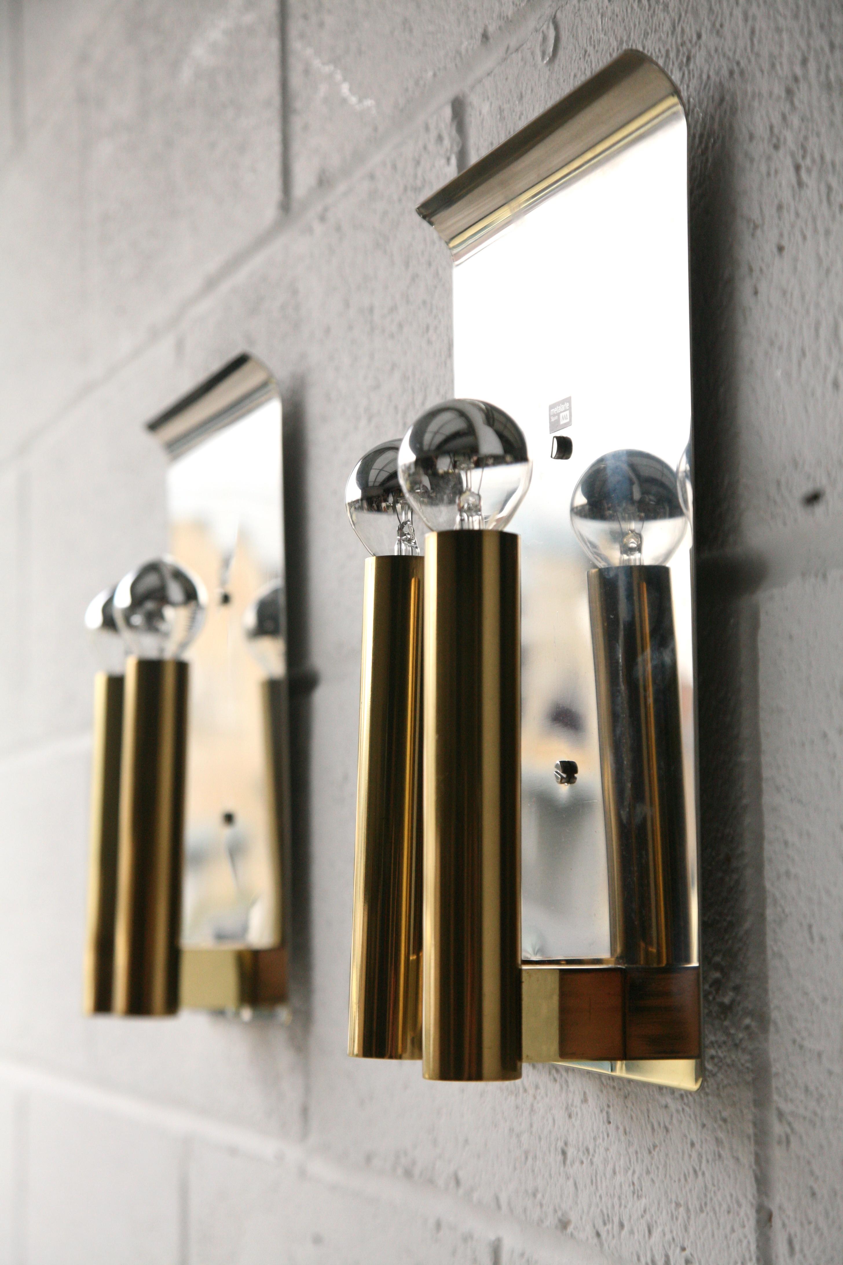 Chrome & Brass Wall Lights by Metalarte Spain 1
