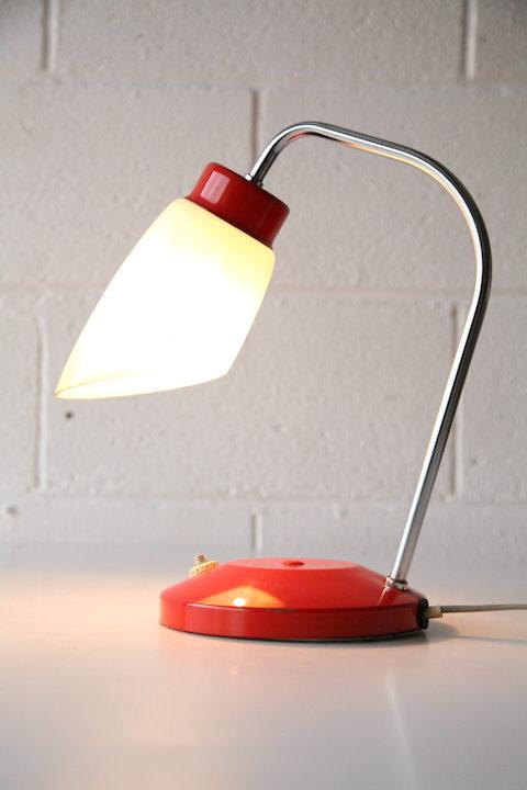 Orange 1960s Lamp with Glass Shade 2
