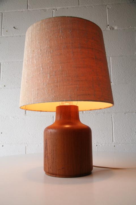 Vintage Teak Table Lamp | Cream and Chrome