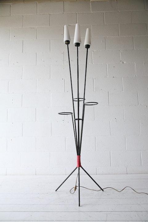 1950s Glass Triple Floor Lamp