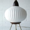 1950s Glass Teak Tripod Table Lamp 1