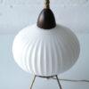 1950s Glass Teak Tripod Table Lamp