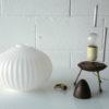 1950s Glass Teak Tripod Table Lamp 2
