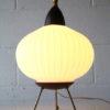 1950s Glass Teak Tripod Table Lamp 4