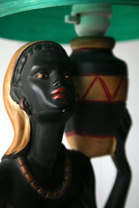 Rare Vintage Chalkware Lady Lamp 1945 3